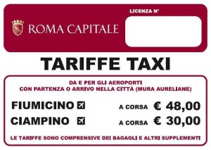 rome airport taxis have fixed price
