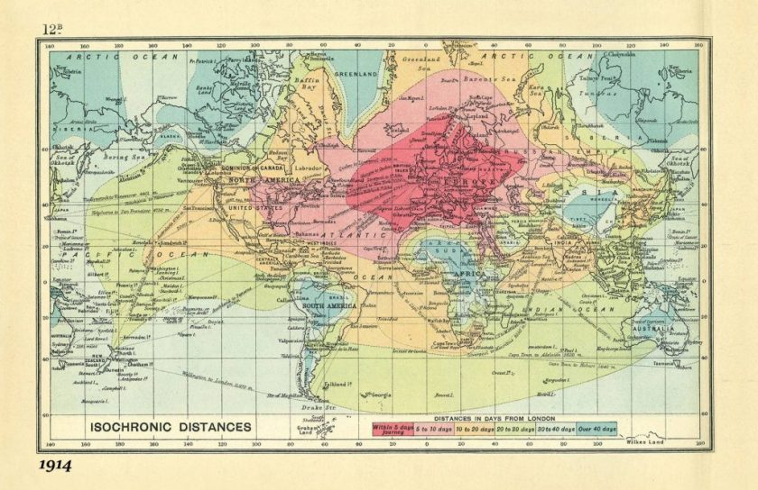 World map isochronic 1914