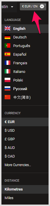 Language currency distance