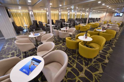 Lounge seating on Hellenic Seaway's Nissos Samos ferry