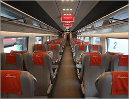 Standard class seats on Trenitalia's Frecciarossa train are the same size as premium class. (Credit: Trenitalia)
