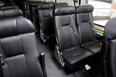 Seats inside Greyhound bus (USA).