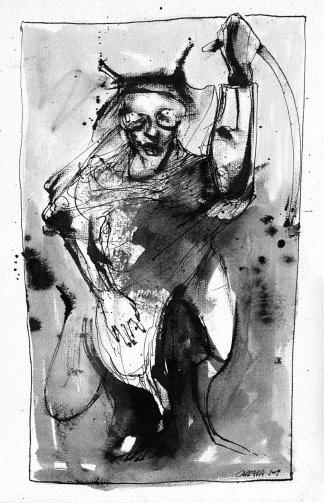 Joven sátiro - tinta sobre papel - 20 x 35 cm