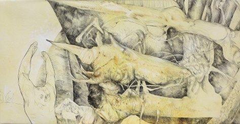 El mascarón descortés - acrílico sobre tela - 100 x 50 cm
