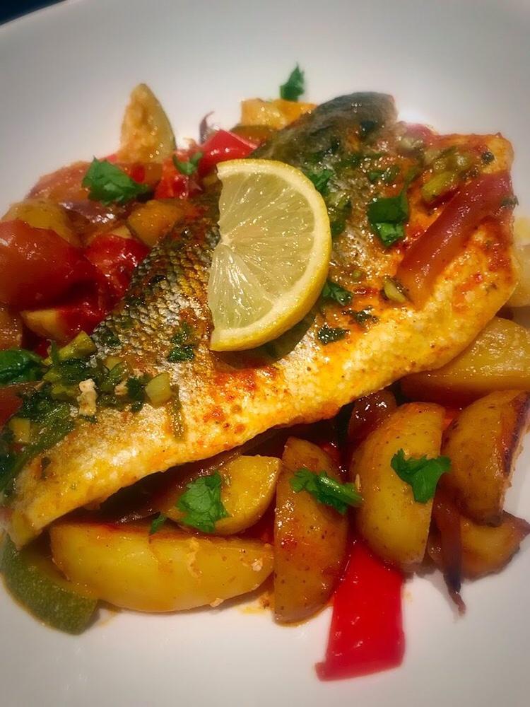 Roasted harissa Seabass on roasted vegetables