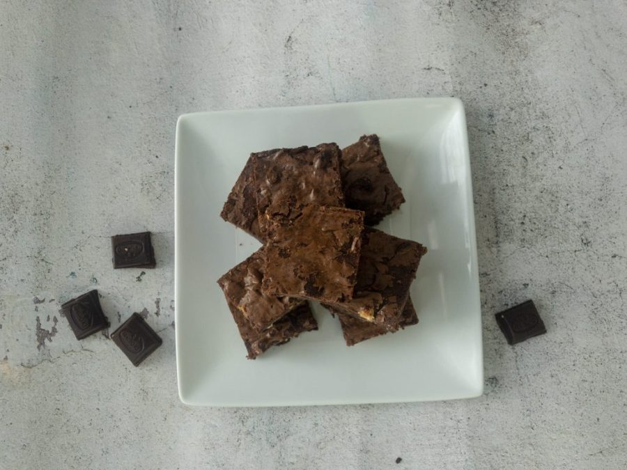 Aerial View of the brownies showing the crackling on the top