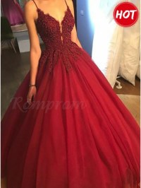 Ball Gown Spaghetti Straps Burgundy Tulle Prom Dress with ...