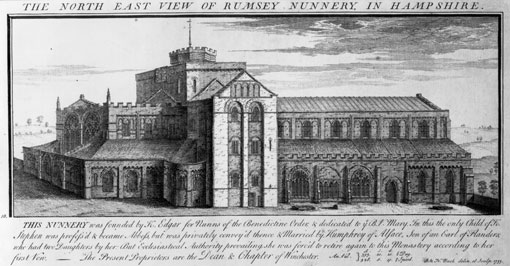 Scanned print of an old lithograph illustration of a large church