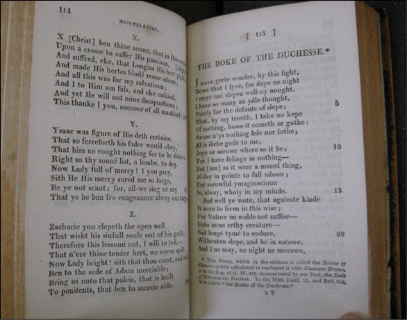 Fig. 5. 'The Boke of the Duchesse' from The Poets of Great Britain (London: Cadell & Davies, 1807). Photograph: Author's own.