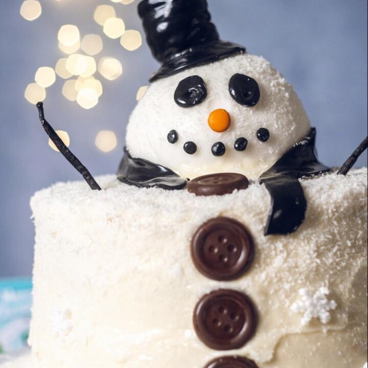 Vegan Snowman Salted Caramel Cake Recipe