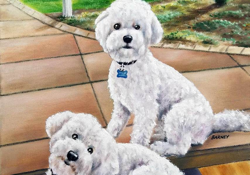Barney & Bailey - Pet Portrait Oil Painting