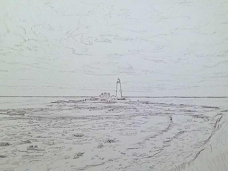 St Mary's Lighthouse - Sketch