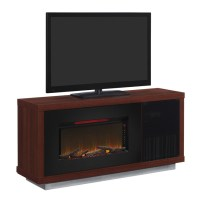 """Media Mantel with Electric 36"""" Fireplace - Cherry Wood 