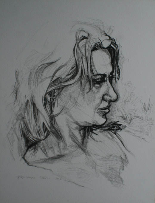 'Carol' - drawing of the artist's wife - pencil on paper - 2009