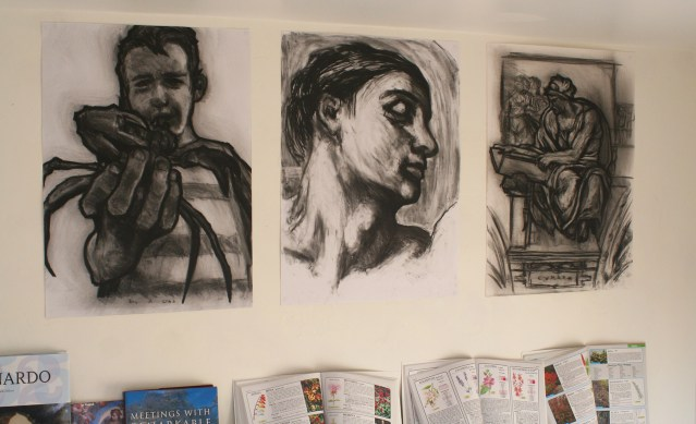 Triple drawing in the studio - All done in charcoal on paper - 2013