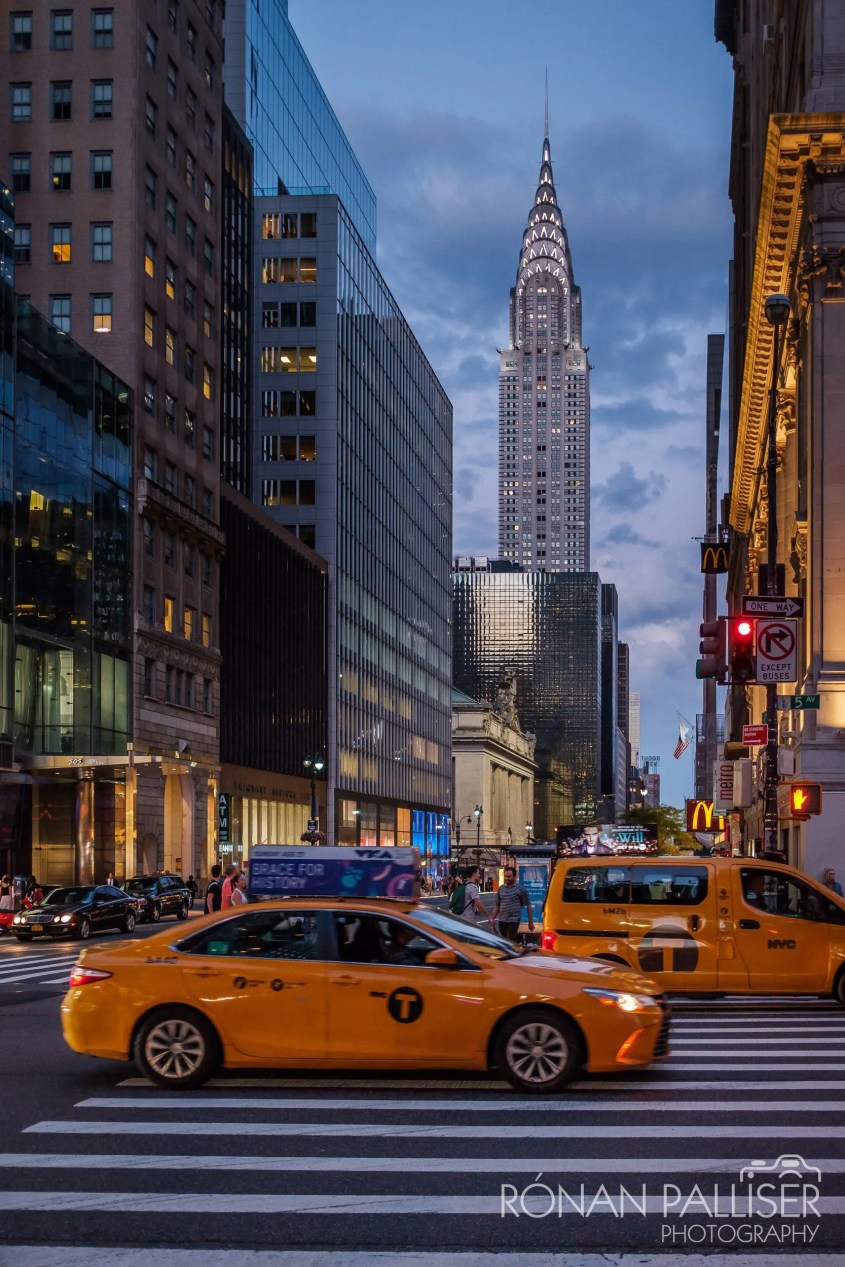 Chrysler building and yellow cab, NYC