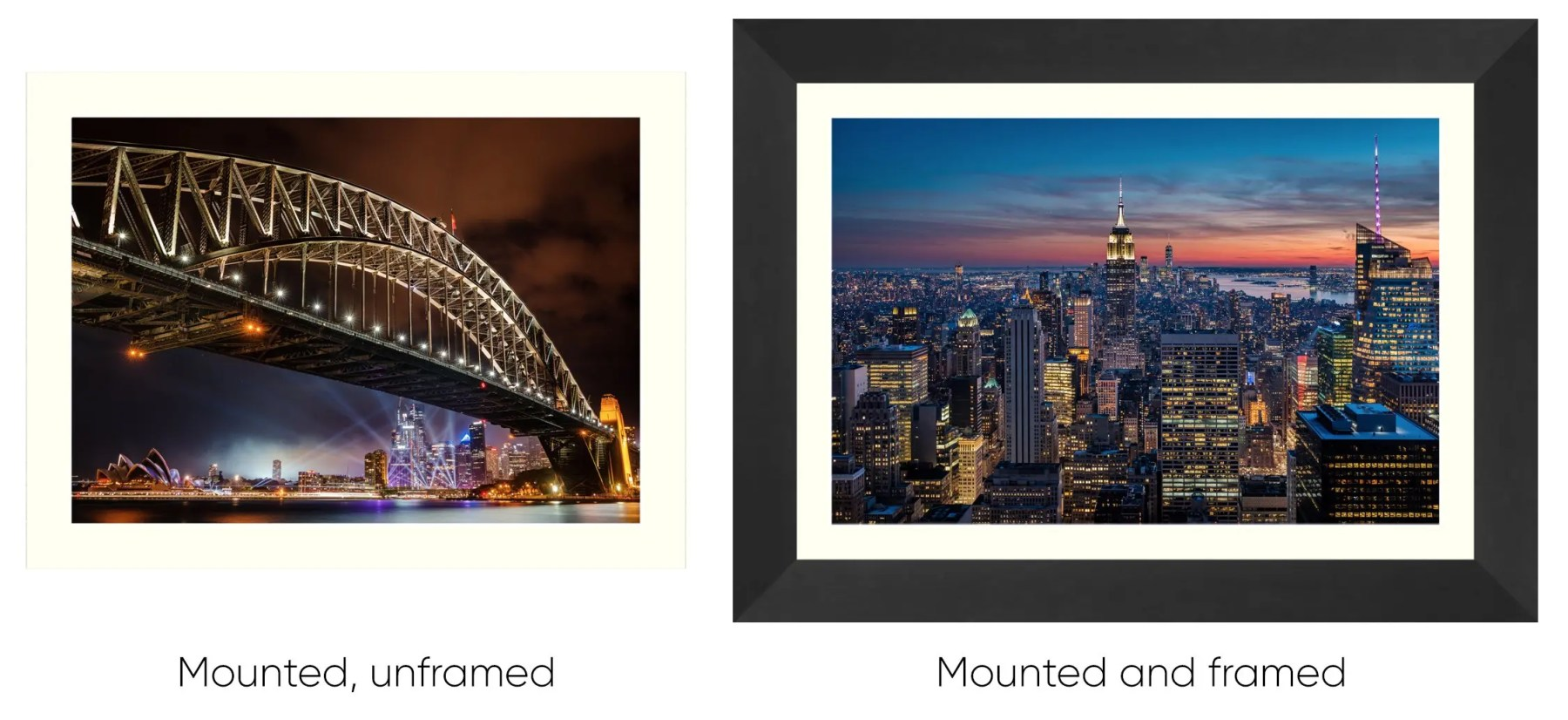 Mounted unframed and framed examples