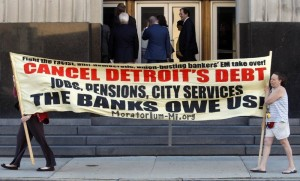 Detroit city employees protesting bankruptcy