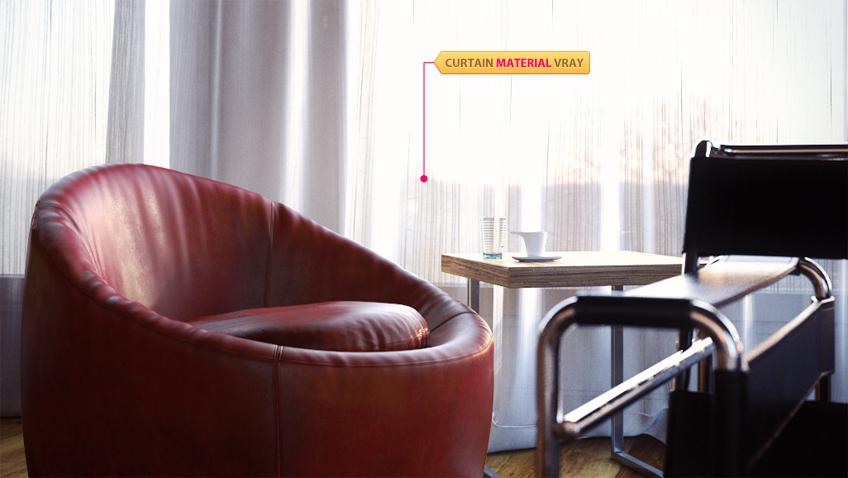 material curtain v ray 3d