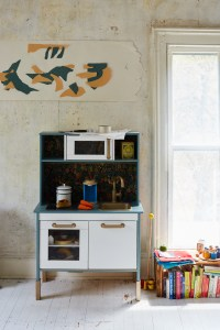 Rifle Paper Company print on the Ikea childrens kitchen