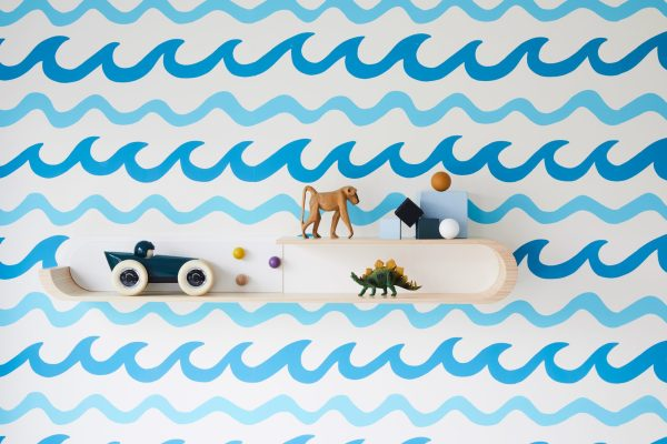 Aimee Wilder waves wallpaper with Rafa Kids shelving