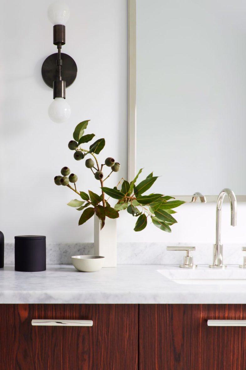 Simple Modern Master Bath with lighting