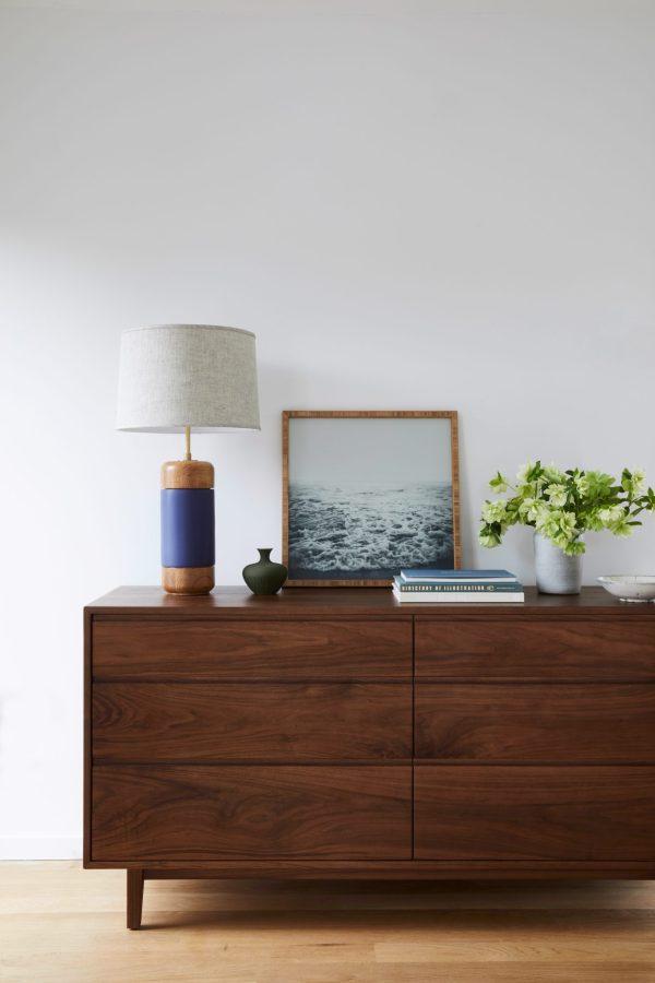Local Craftsmanship Made in America lamp and dresser master bedroom
