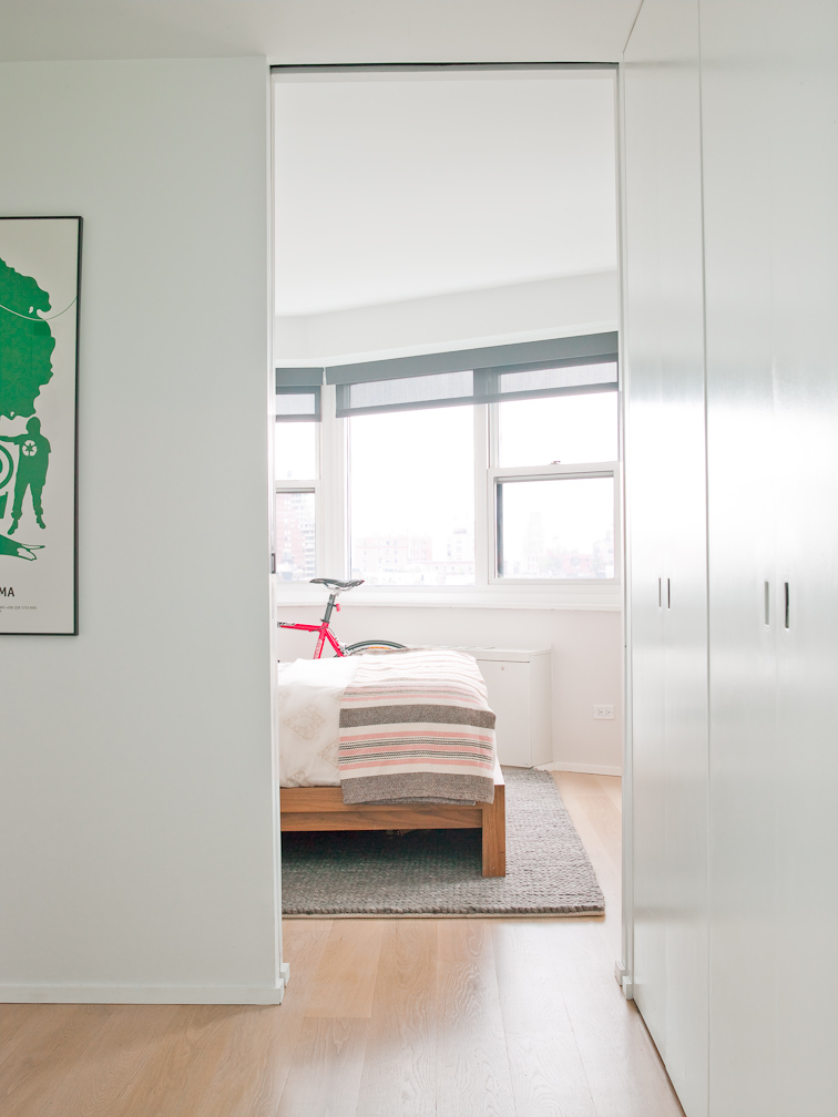 pocket doors offer privacy and free up space in a small west village renovation.