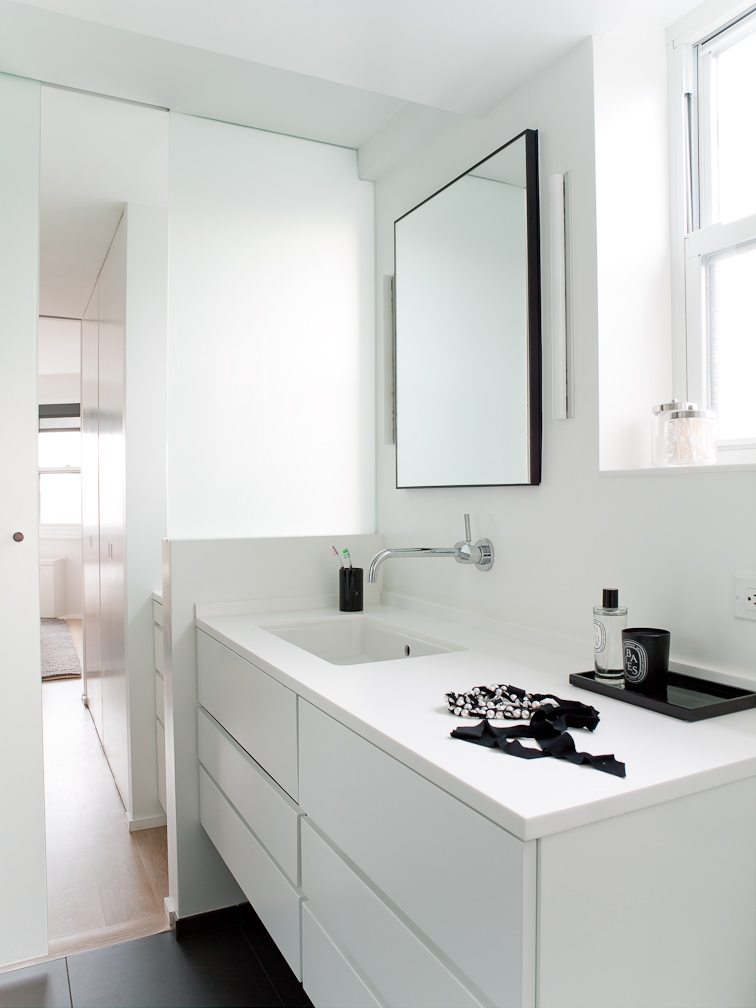 dornbracht fixture in clean minimal designed bathroom