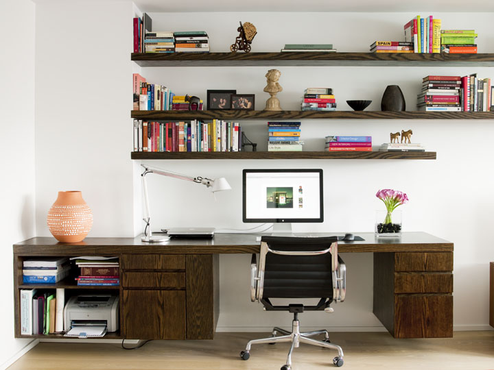 Open Shelving Custom walnut desk living room home office.