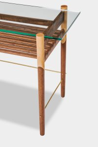 Chris Earl wood and glass console table