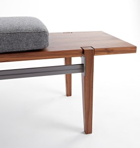 Wood bench with steel and wool cushion