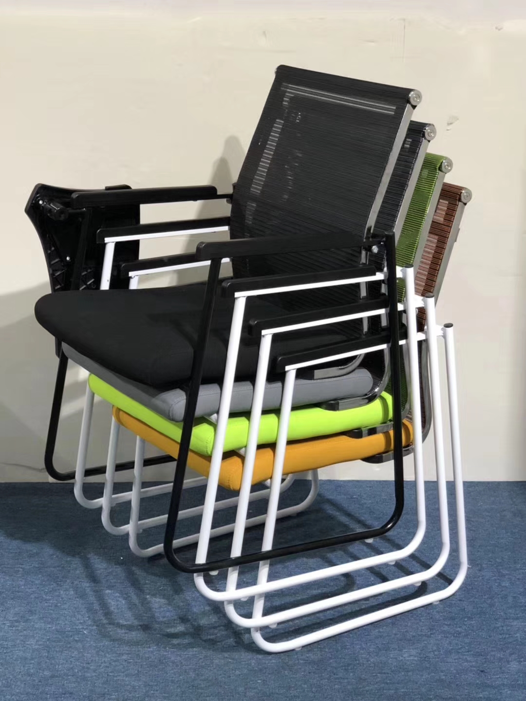 folding visitor chair large swivel chairs living room stackable office training staff used
