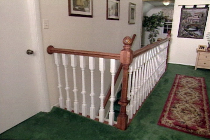 How To Install A Wood Stair Railing From A Kit • Ron Hazelton   Outdoor Wood Stair Railing   Child   Stair Inside   Staircase   Natural Wood   Build In