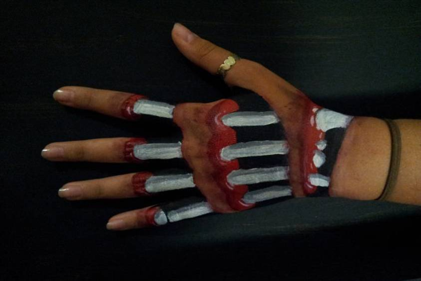 Body art showing bones inside a hand