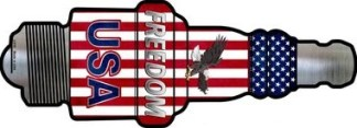 freedom usa metal spark plug sign