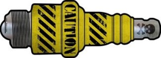 caution metal spark plug sign
