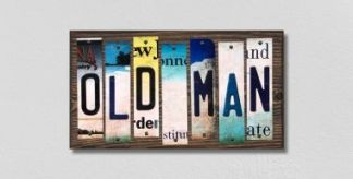 old man license plate sign