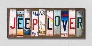 jeep lover wood license plate sign