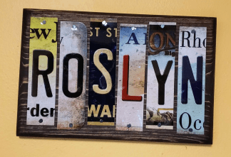 roslyn custom license plate sign