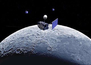 """月を観測する""""かぐや""""の想像図/JAXA"""