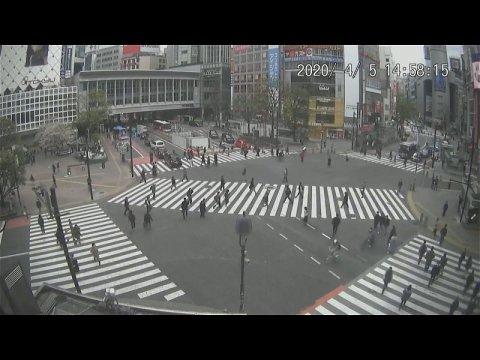 ガラガラの渋谷のスクランブル交差点