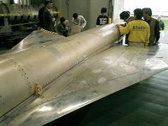 実験中の超音速旅客機の模型(実物)