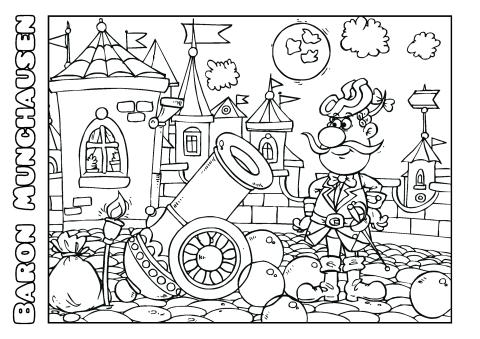 Baron Munchausen coloring book template, How to print a