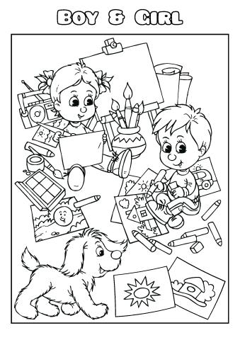 Boy & Girl coloring book template, How to make a Boy