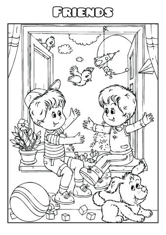 Friends coloring book template, How to create a Friends