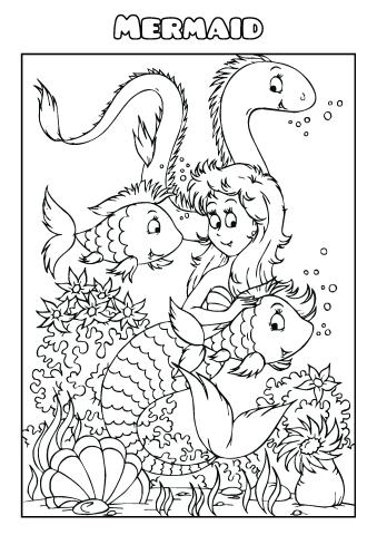 Download mermaid coloring pages, create your own mermaid