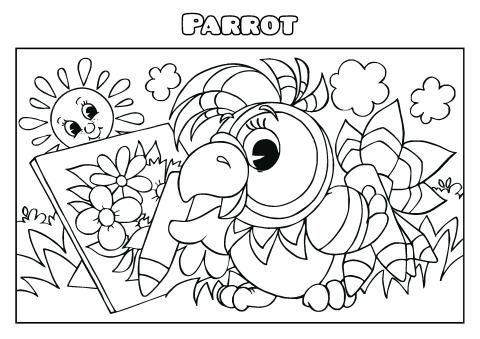 Parrot coloring book template, How to make a Parrot