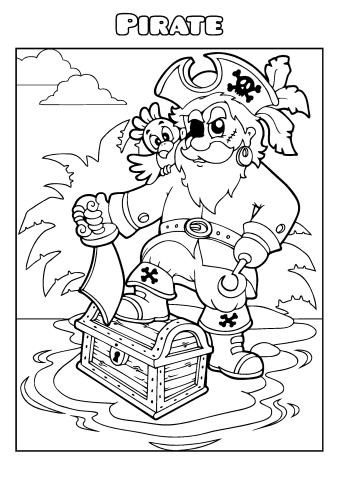 Pirate coloring book template, How to make a Pirate