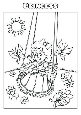 Princess coloring book template, How to print a Princess